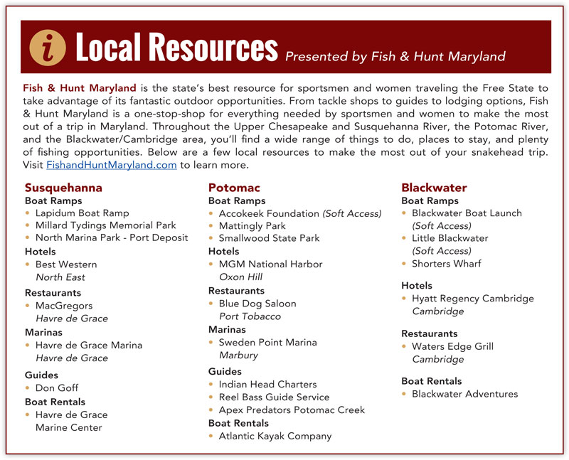 maryland snakehead fishing resources