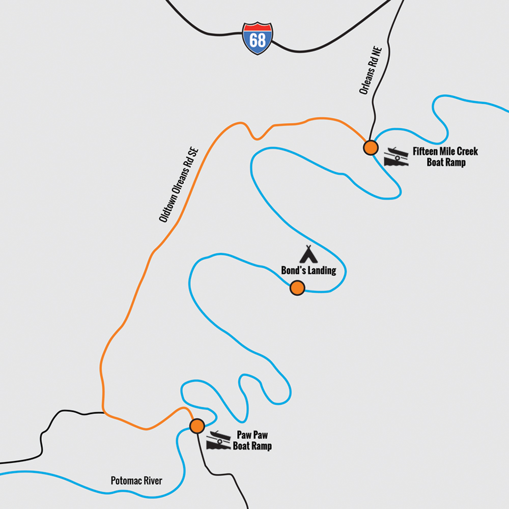 Paw Paw Bends Potomac River Map