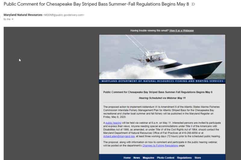 Maryland Striped Bass Season Public Comment Webinar May 11