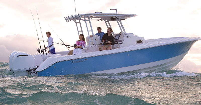 edgewater 320 cc center console fishing boat on the water