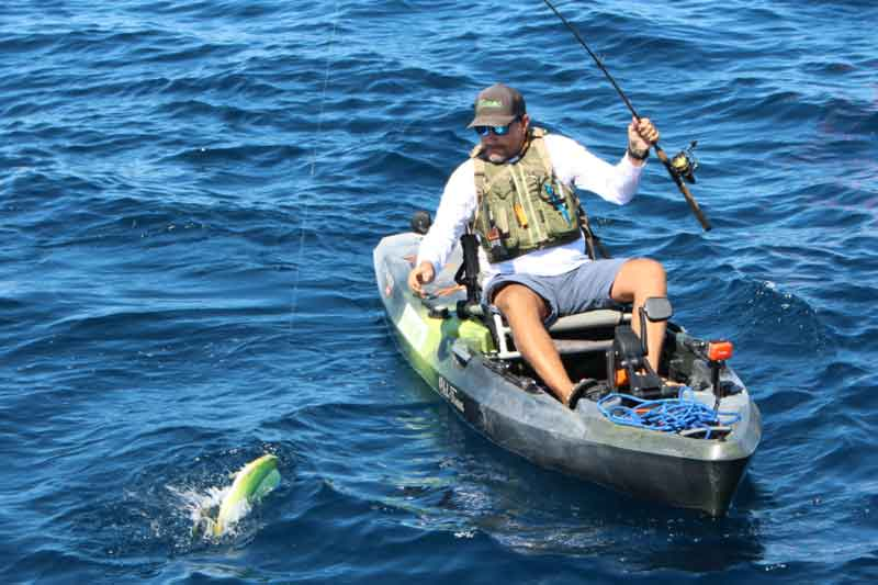 kayak fishing in the ocean
