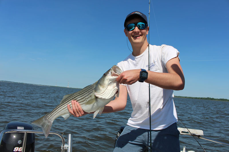 parker caught a nice rockfish while chumming