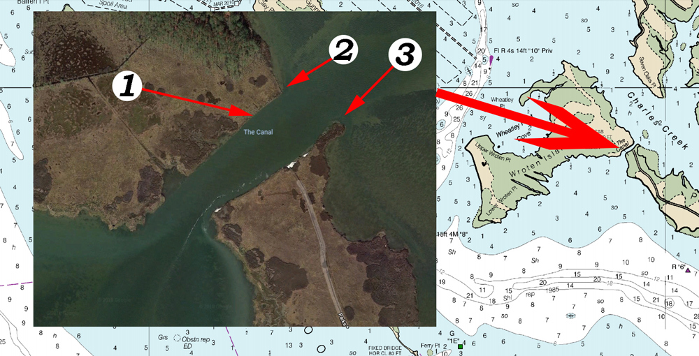 fishing chart for the cut in tangier sound honga river