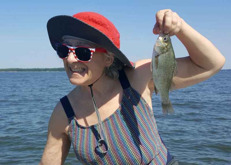 amy with a white perch